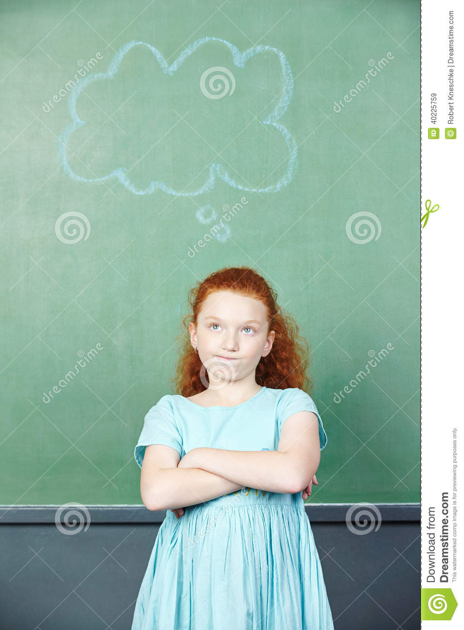 Pensive girl with thought bubble