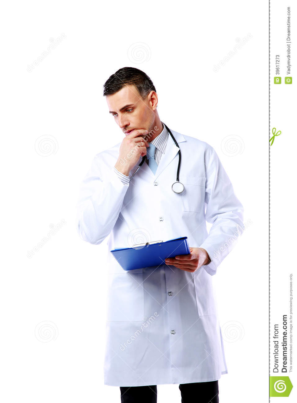 Thoughtful Male Doctor With Clipboard Royalty-Free Stock ...