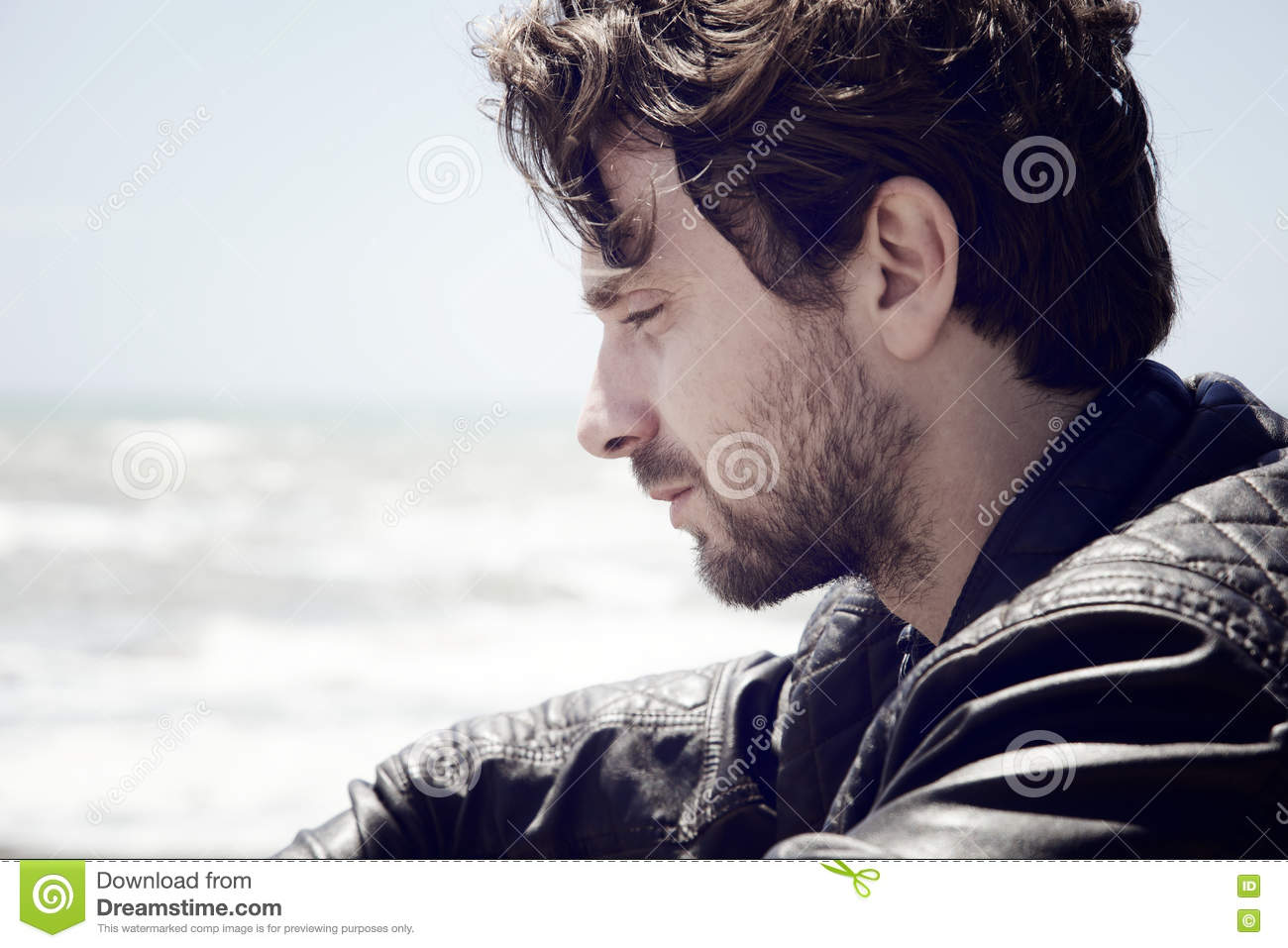 Pensive Man In Front Of The Sea Thinking Feeling Sad Stock ...