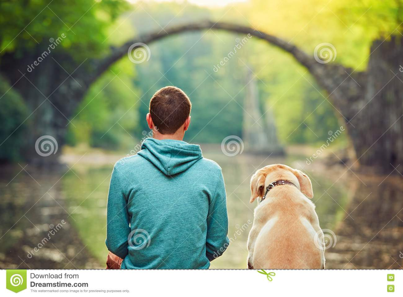 436dcca38 Pensive Man Sitting With His Dog Stock Photo - Image of nature ...