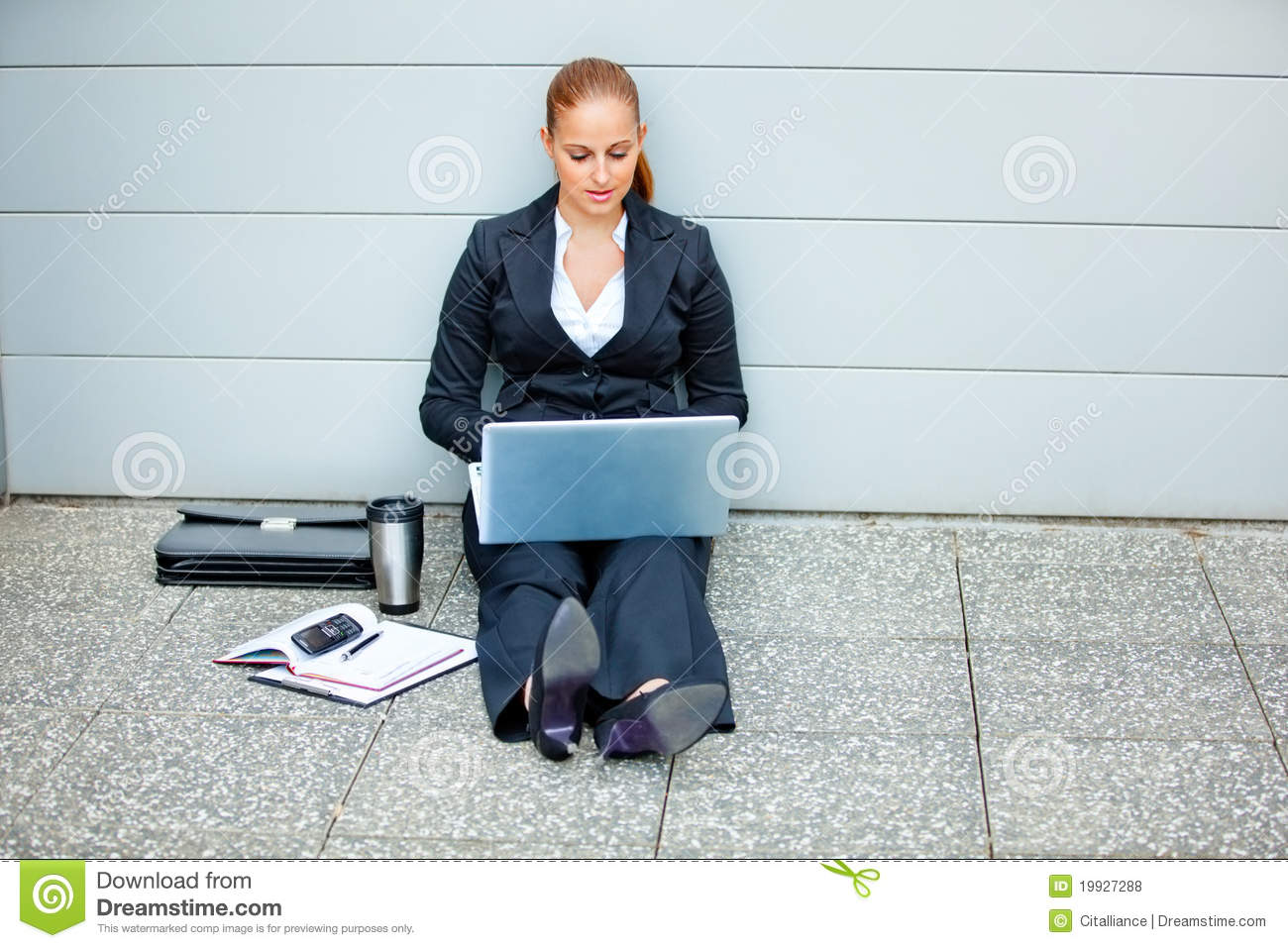 Download Pensive Modern Business Woman Using Laptop Stock Photo - Image of case, clever: 19927288