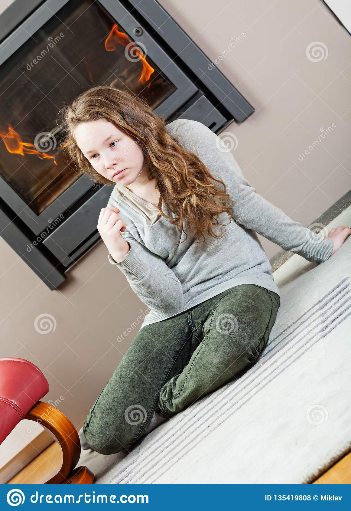 Pensive teenager girl