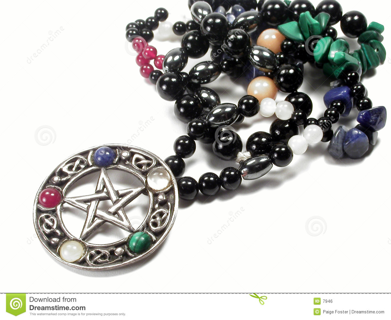 Download Pentacle arkivfoto. Bild av malachite, halsband, pentagram - 7946