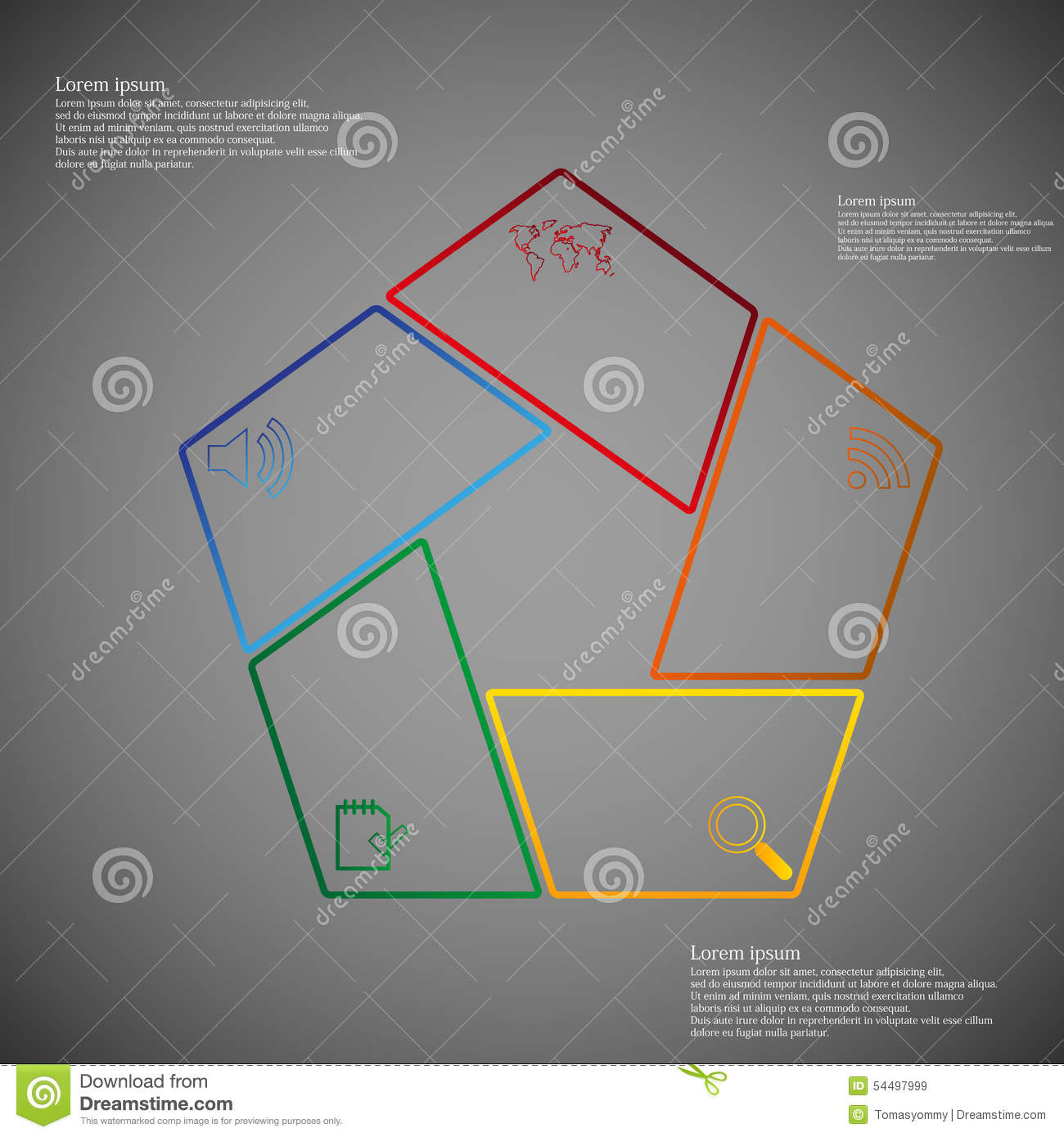 pentagon infographic consists of five parts on dark stock vector