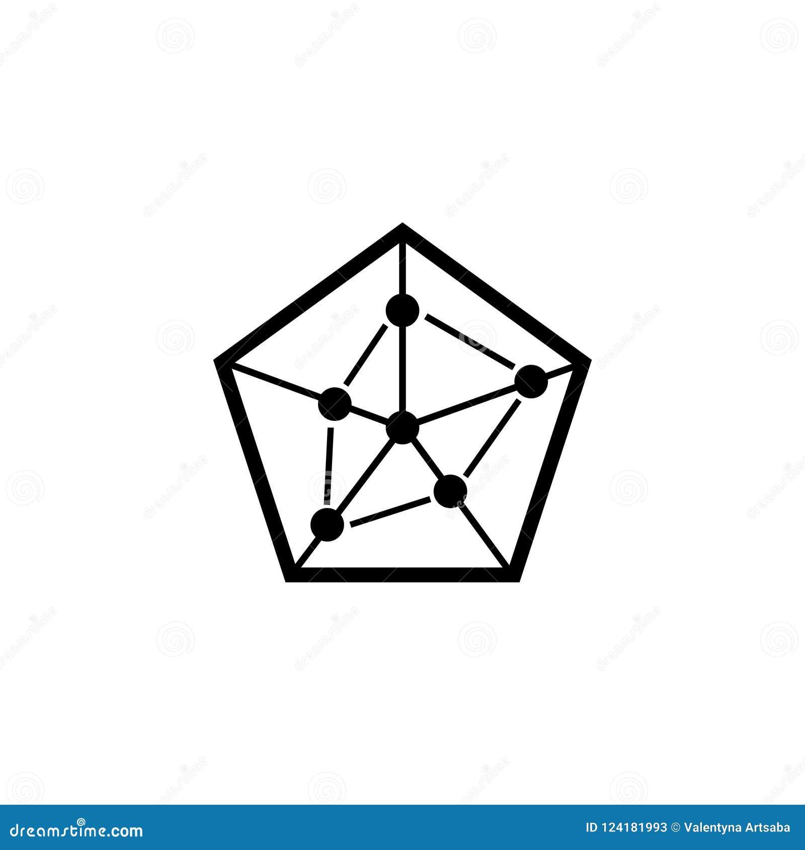 Pentagonal Business Chart Flat Vector Icon