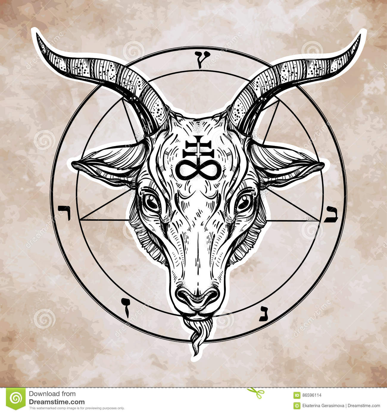 Pentagram With Demon Baphomet, Satanic Goat Head. Cartoon ...