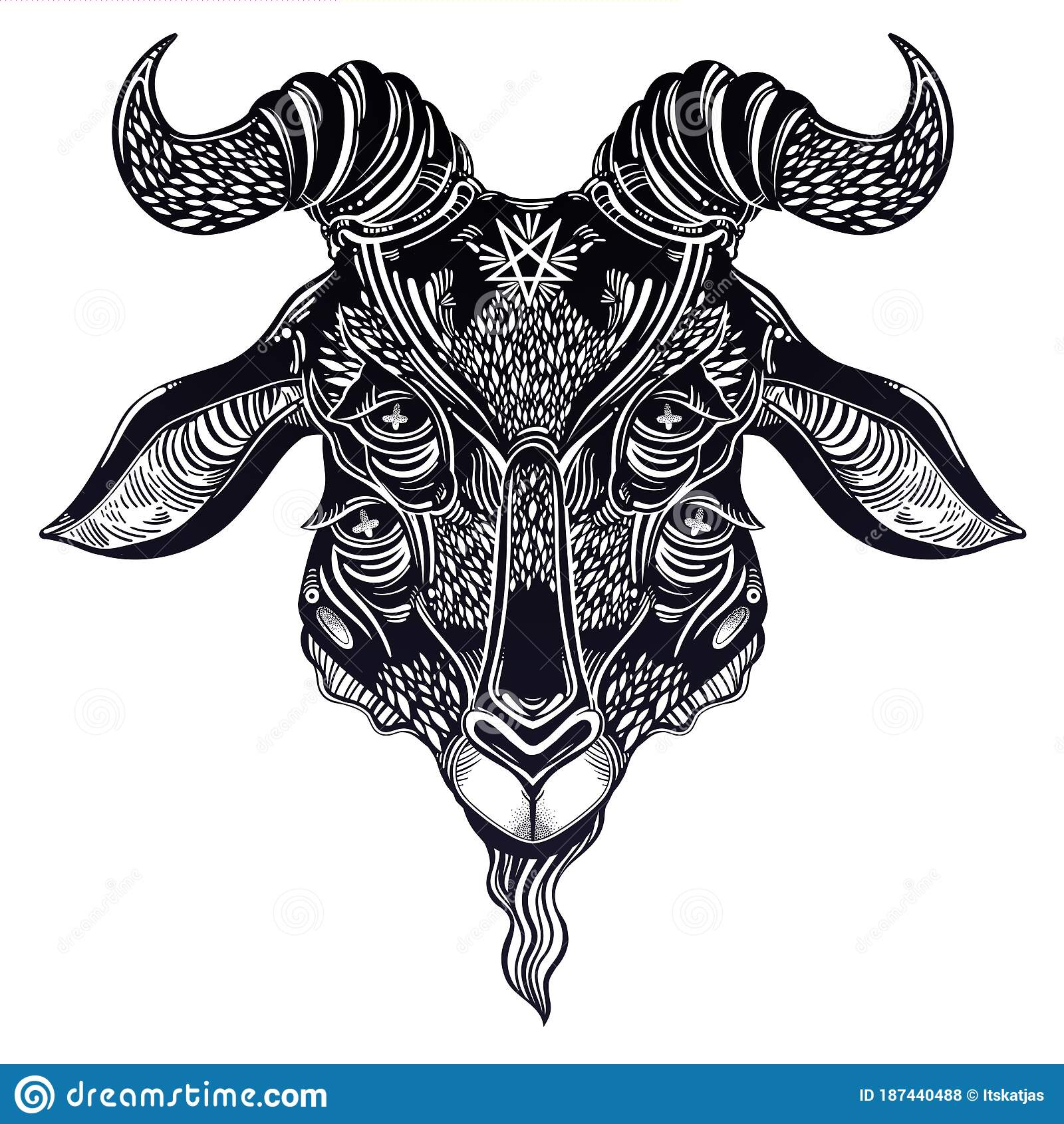 Pentagram In The Head Of Demon Baphomet With Four Eyes Stock Vector Illustration Of Element Paganism 187440488