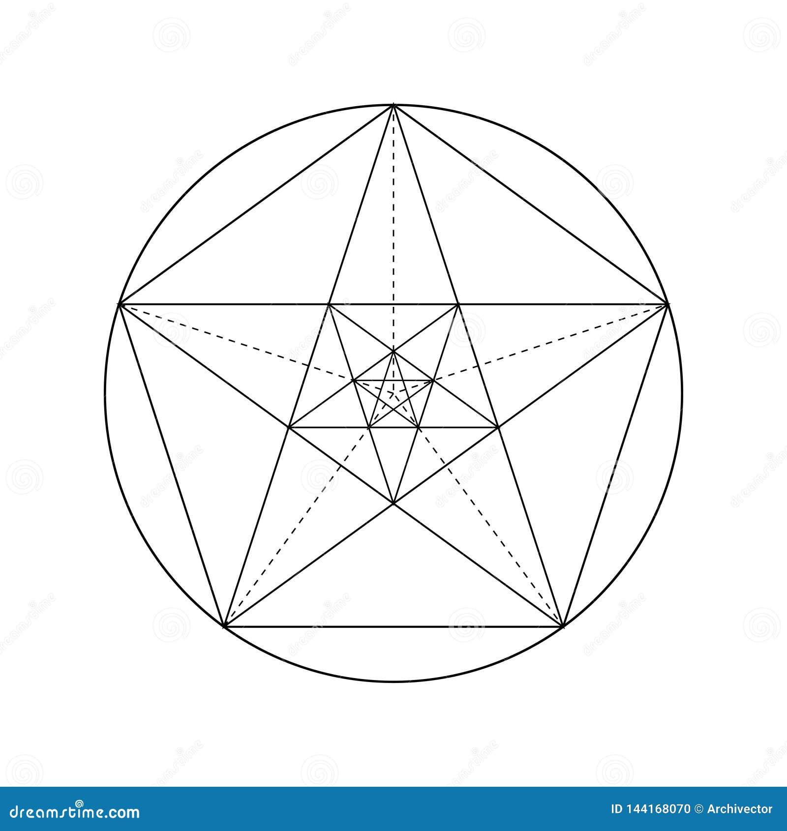 Pentagram star drawing