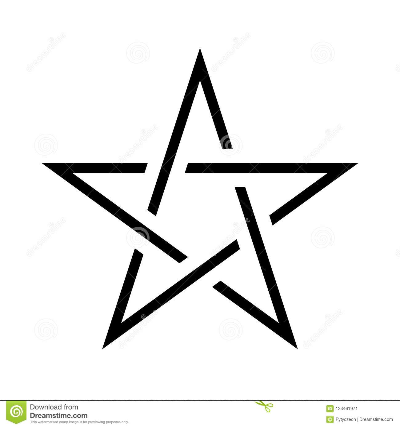Pentagram Sign Five Pointed Star Magical Symbol Of Faith Simple