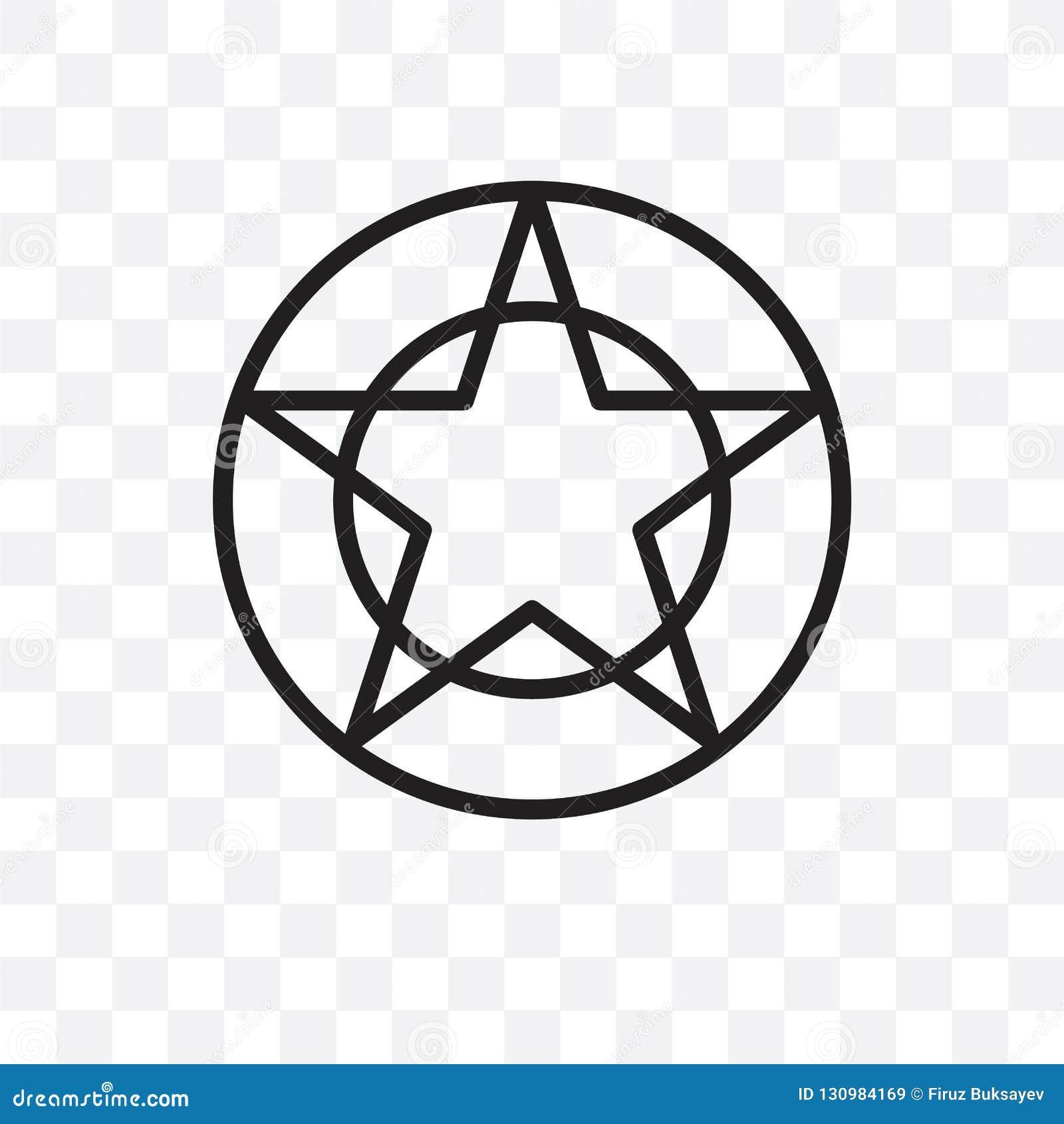 Pentagrammic在透明背景隔绝的传染媒介线性象,pentagrammic透明度概念可以为网和mobi使用