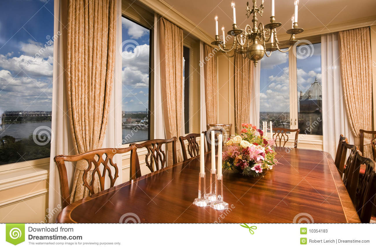 Penthouse Dining Room With View New York City Stock Photos
