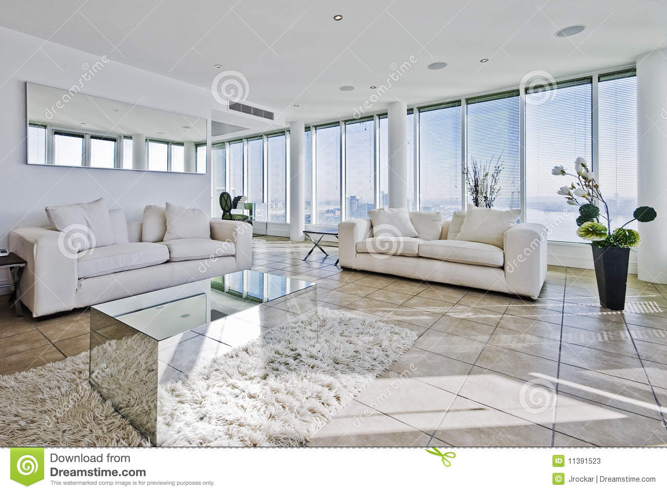 Penthouse living room stock image. Image of column, lounge - 11391523