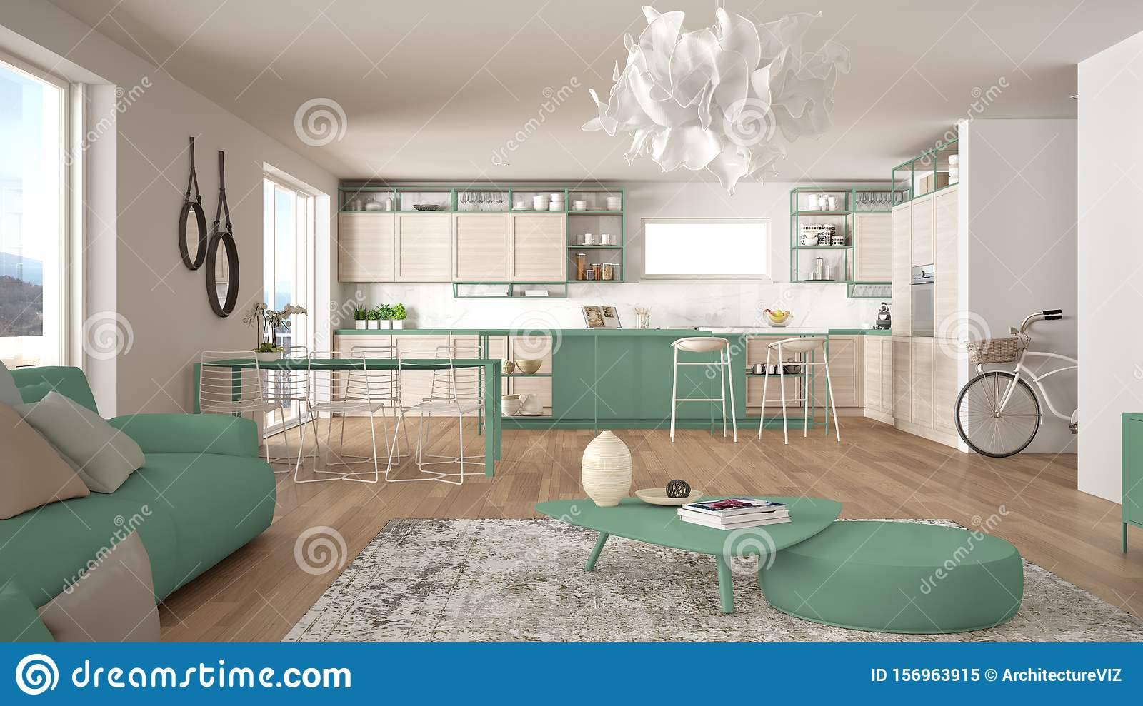 Penthouse Living Room And Kitchen Interior Design Lounge With Sofa And Carpet Dining Table Island Stools Parquet Modern Stock Image Image Of Designer Dining 156963915