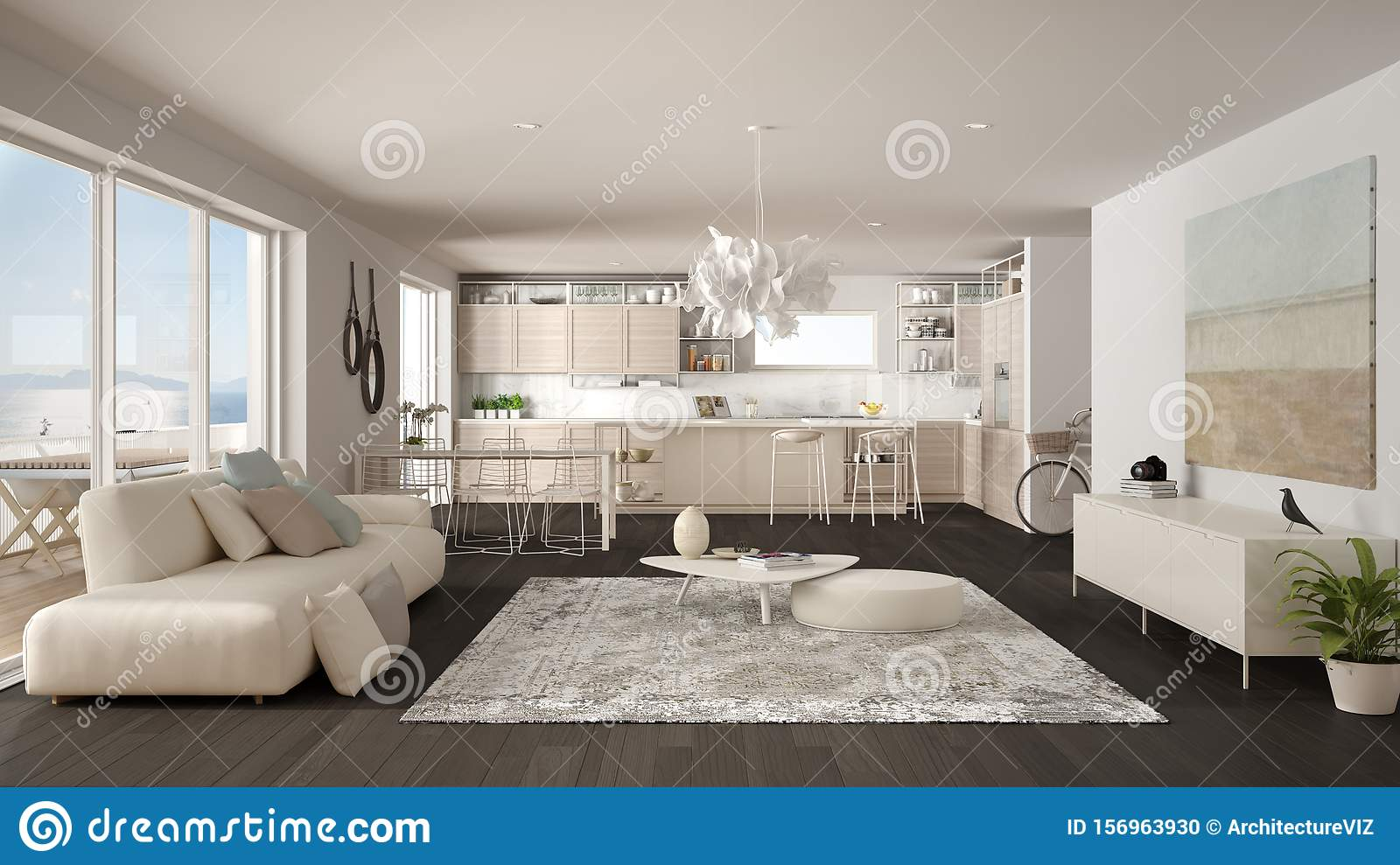 Penthouse Living Room And Kitchen Interior Design Lounge With Sofa And Carpet Dining Table Island With Stools Parquet Modern Stock Photo Image Of Apartment Flooring 156963930