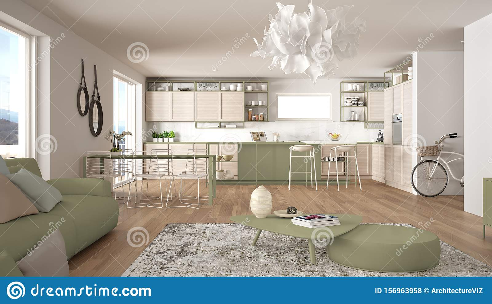 Penthouse Living Room And Kitchen Interior Design Lounge With Sofa And Carpet Dining Table Island With Stools Parquet Modern Stock Photo Image Of Architecture Design 156963958