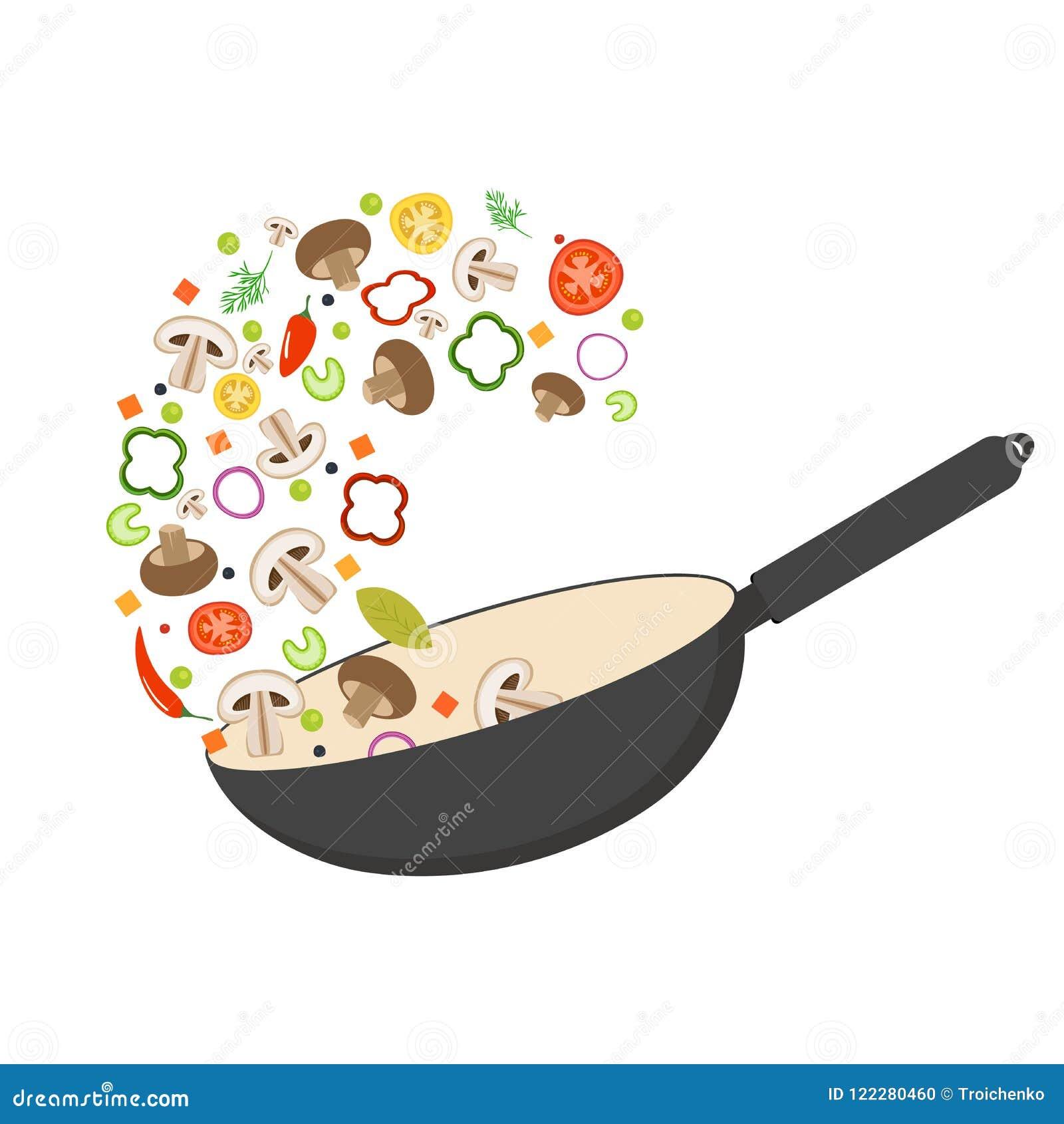 Pentola del wok, pomodoro, paprica, pepe, fungo di shiitake e carote Alimento asiatico Verdure fresche di volo Vettore piano