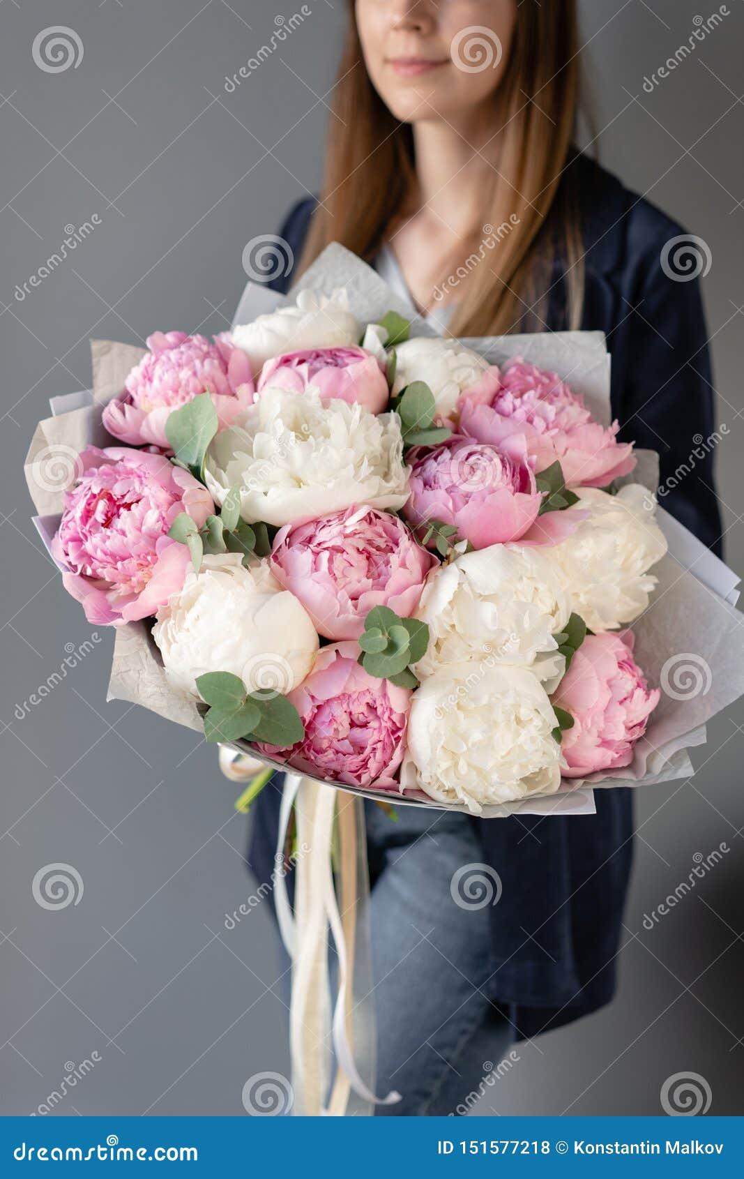 Peonías del rosa y blancas en las manos de la mujer Flor hermosa de la peon?a para el cat?logo o la tienda en l?nea Concepto flor