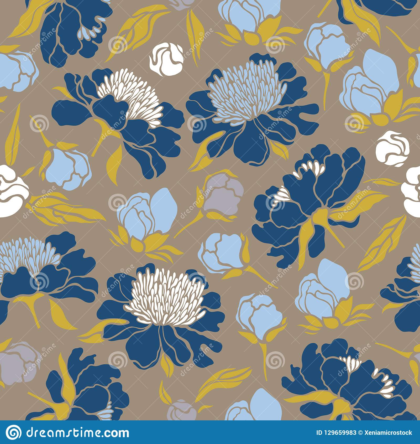 Seamless floral pattern with peonies. Texture with meadow flora for surfaces, paper, wrappers, backgrounds, scrapbooking.