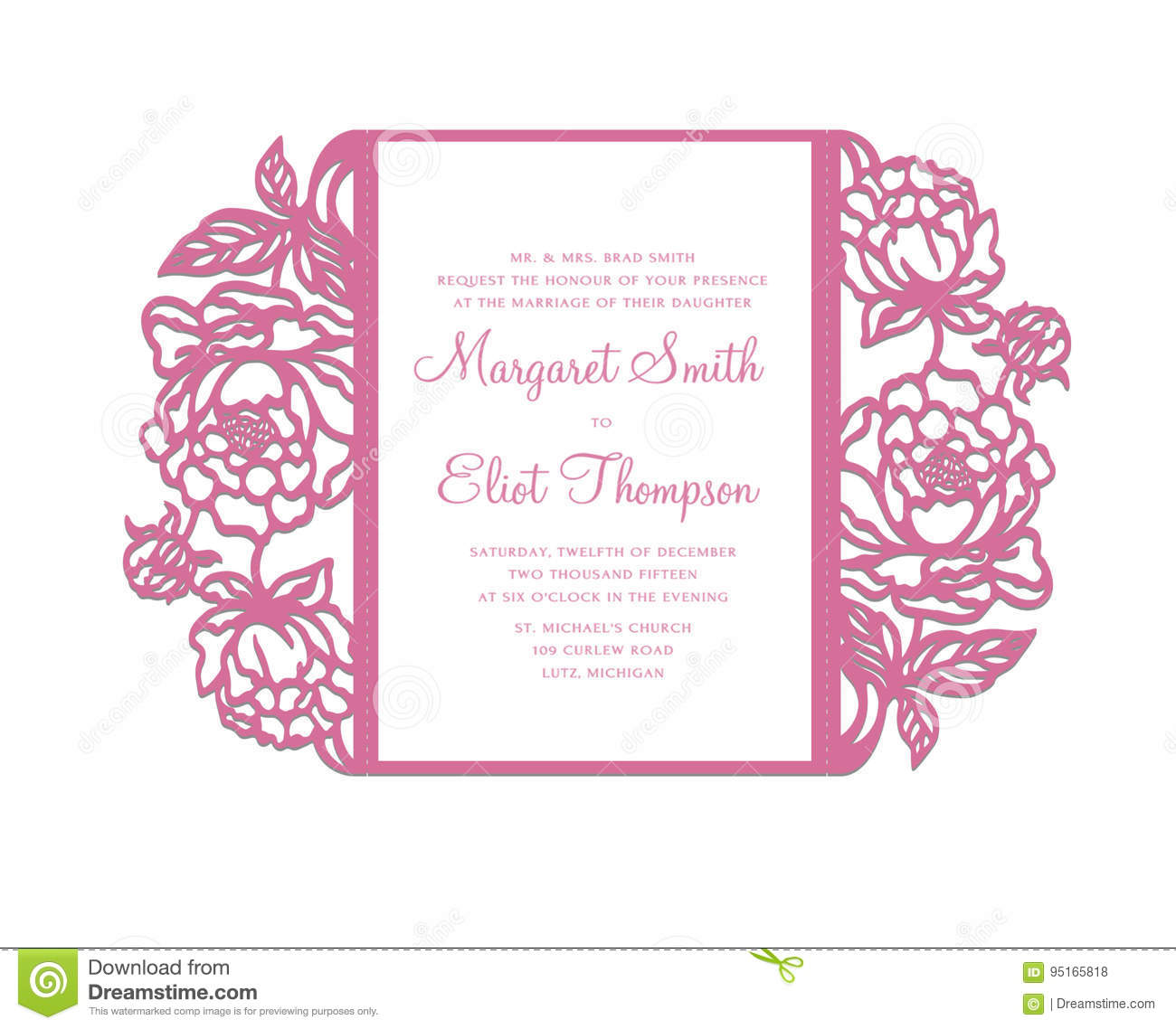 peonies laser cut invitation template stock vector illustration of