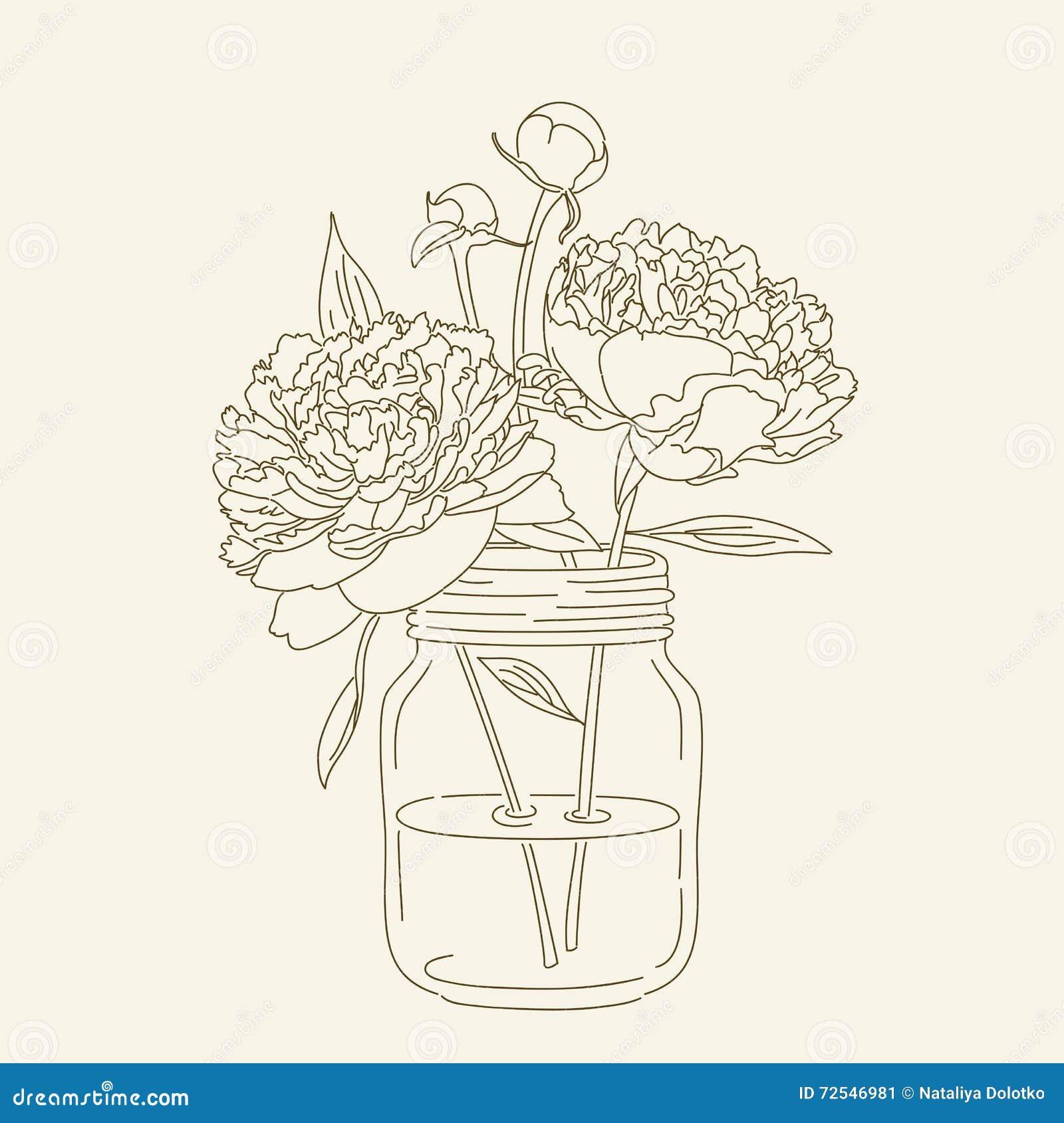 Coloring Drawn Hand Illustration Jar Mason Page