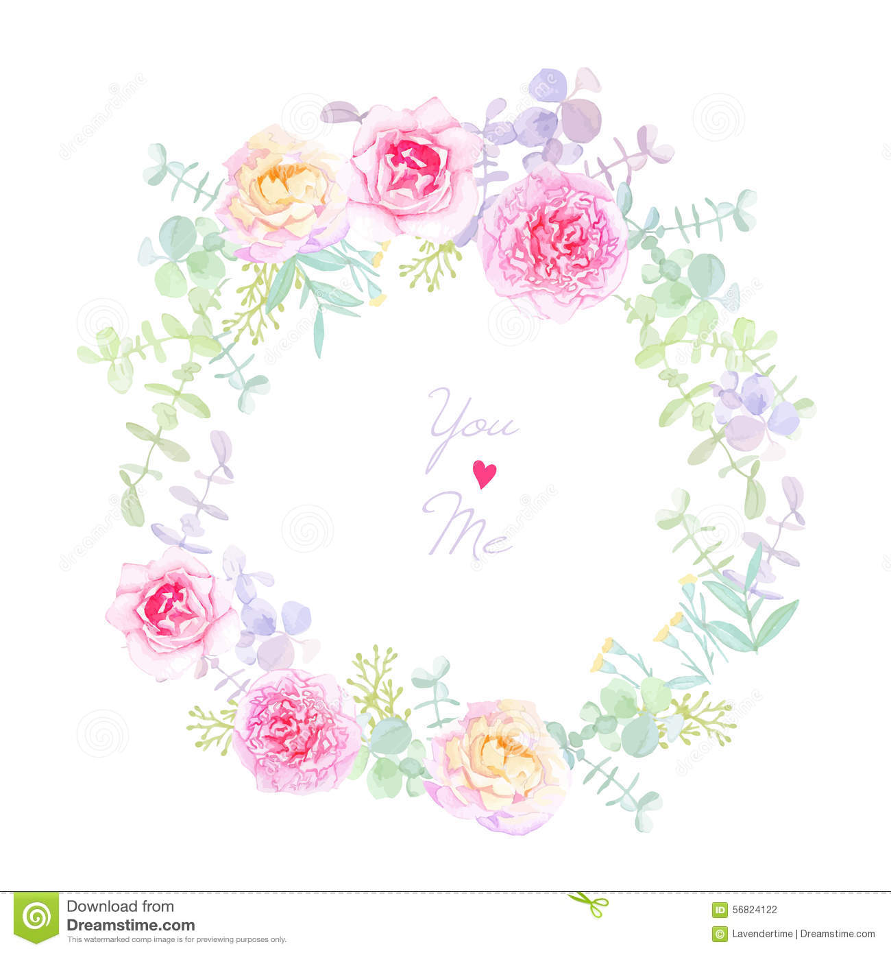 Peonies and roses wedding wreath vector card stock vector for Couronne shabby chic