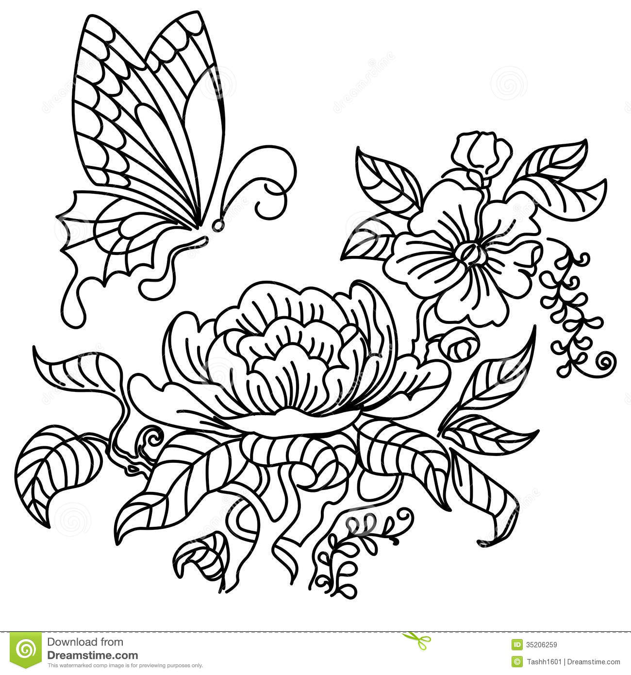 peony and butterfly bw royalty free stock images image 35206259