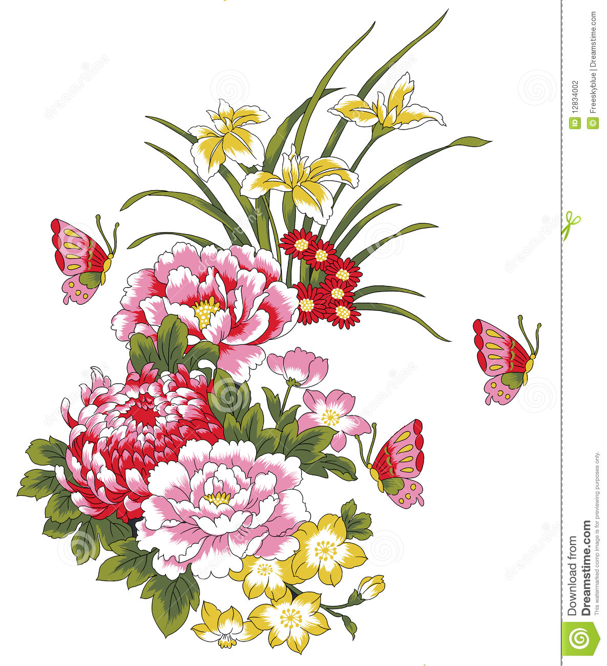 peony flower and butterfly stock photography image 12834002