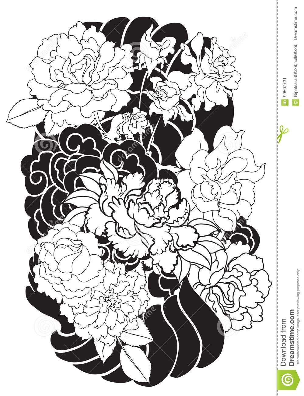 Peony Flower And Rose Tattoo On Cloud And Wave Backgroundhand Drawn