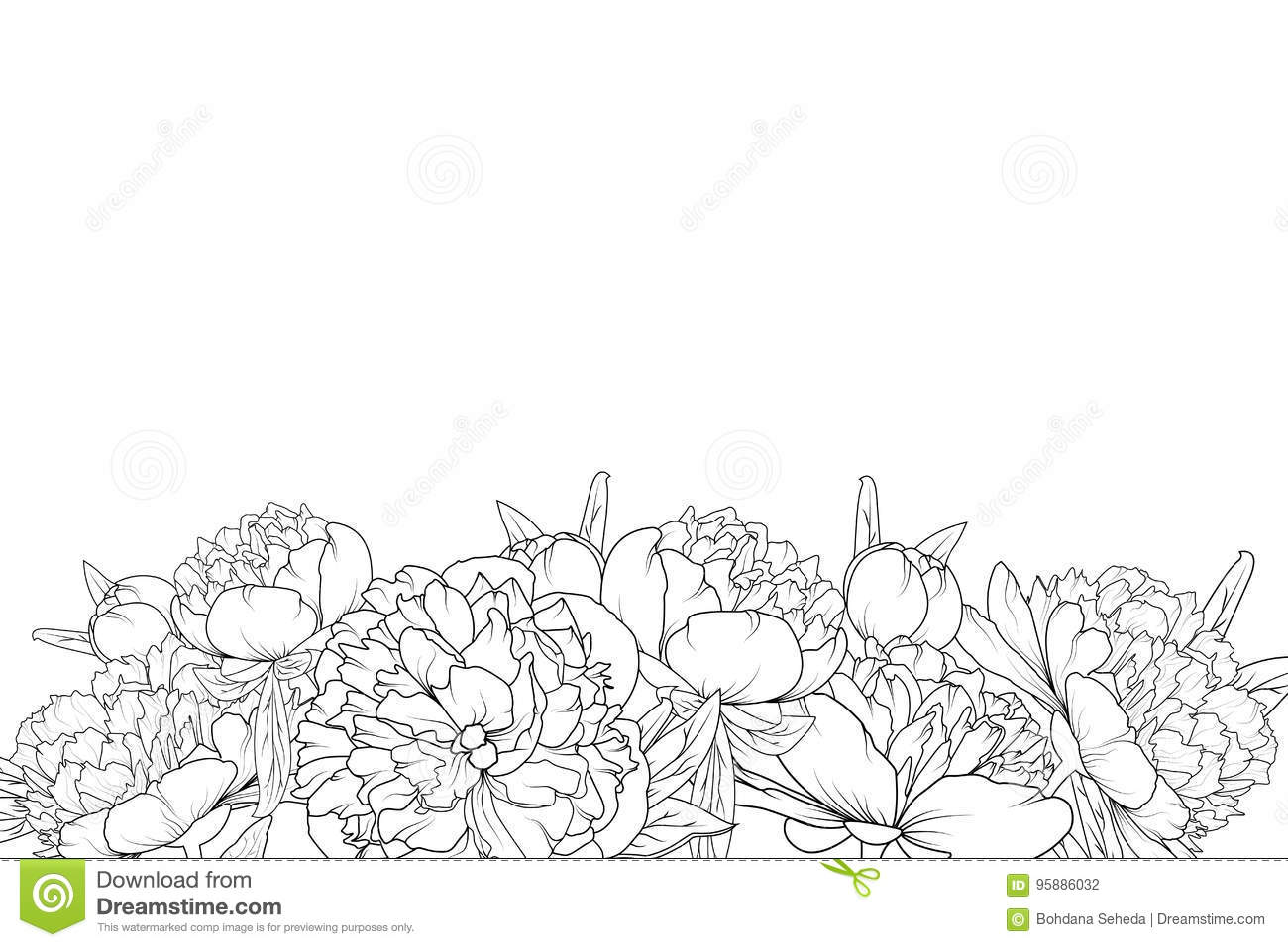 Peony Flowers Black White Bottom Border Frame Stock Vector