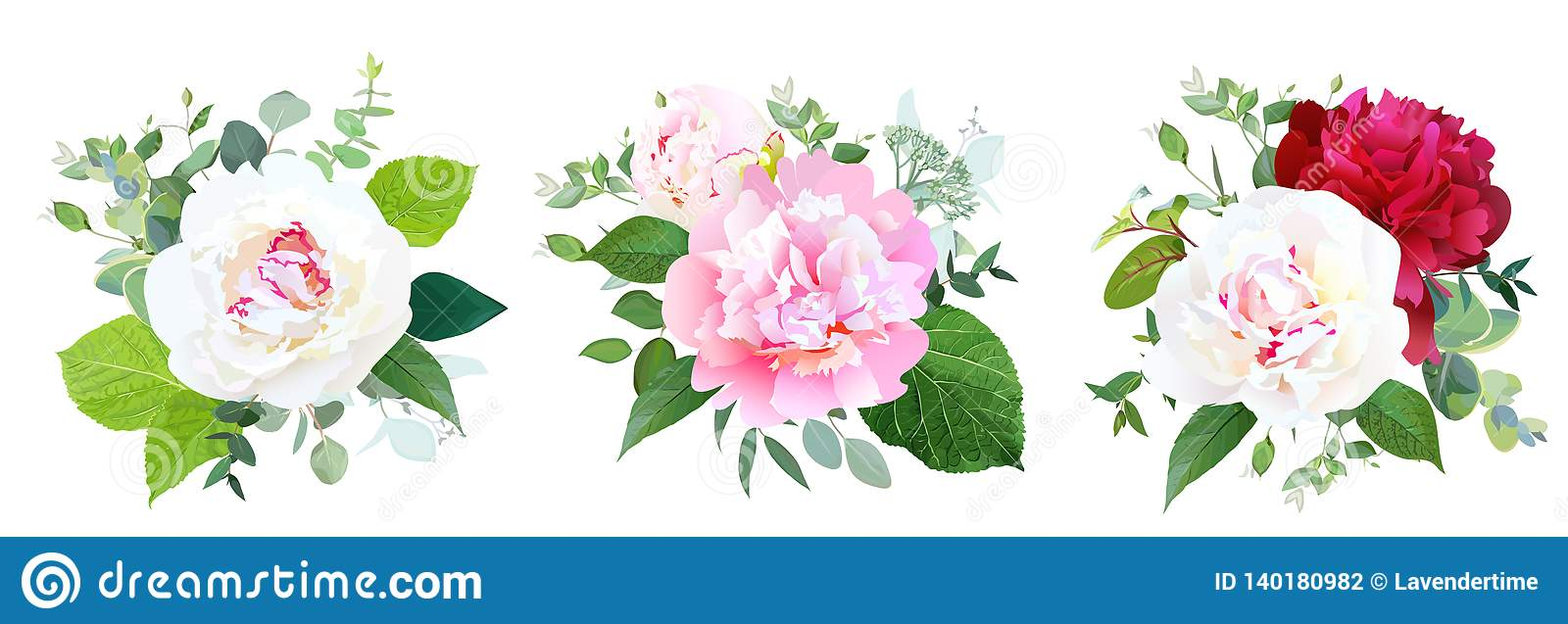 Peony Flowers And Greenery Vector Design Bridal Bouquets Stock Vector Illustration Of Garden Burgundy 140180982