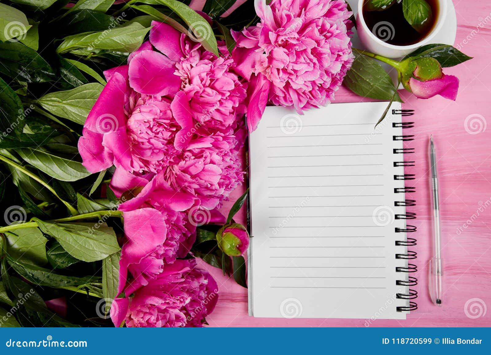 Beautiful pink peony flowers with note stock image image of beautiful pink peony flowers with note mightylinksfo