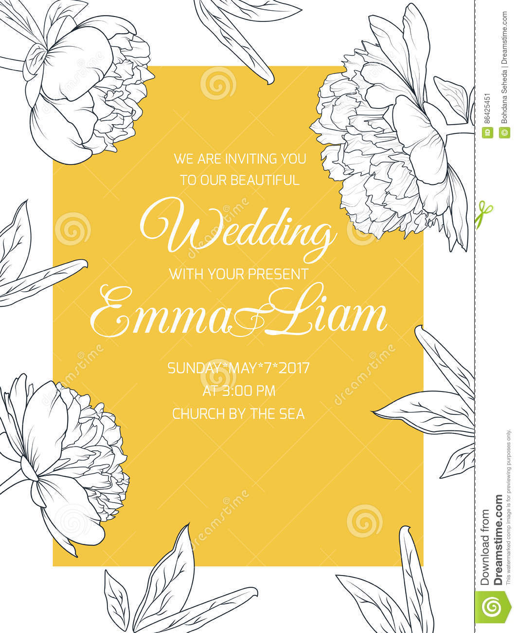 Peony Flowers Wedding Invitation Template Yellow Stock Vector