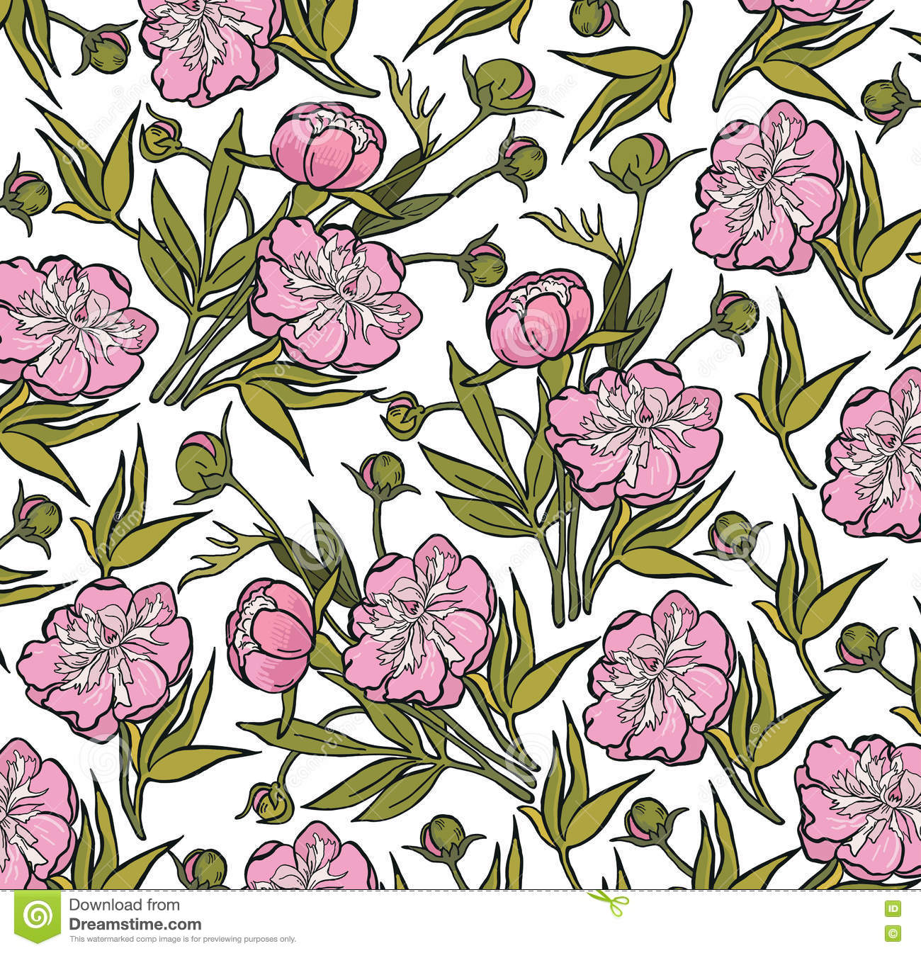 Peony Realistic Isolated Flowers Pattern Vintage Baroque Background Wallpaper Drawing Engraving