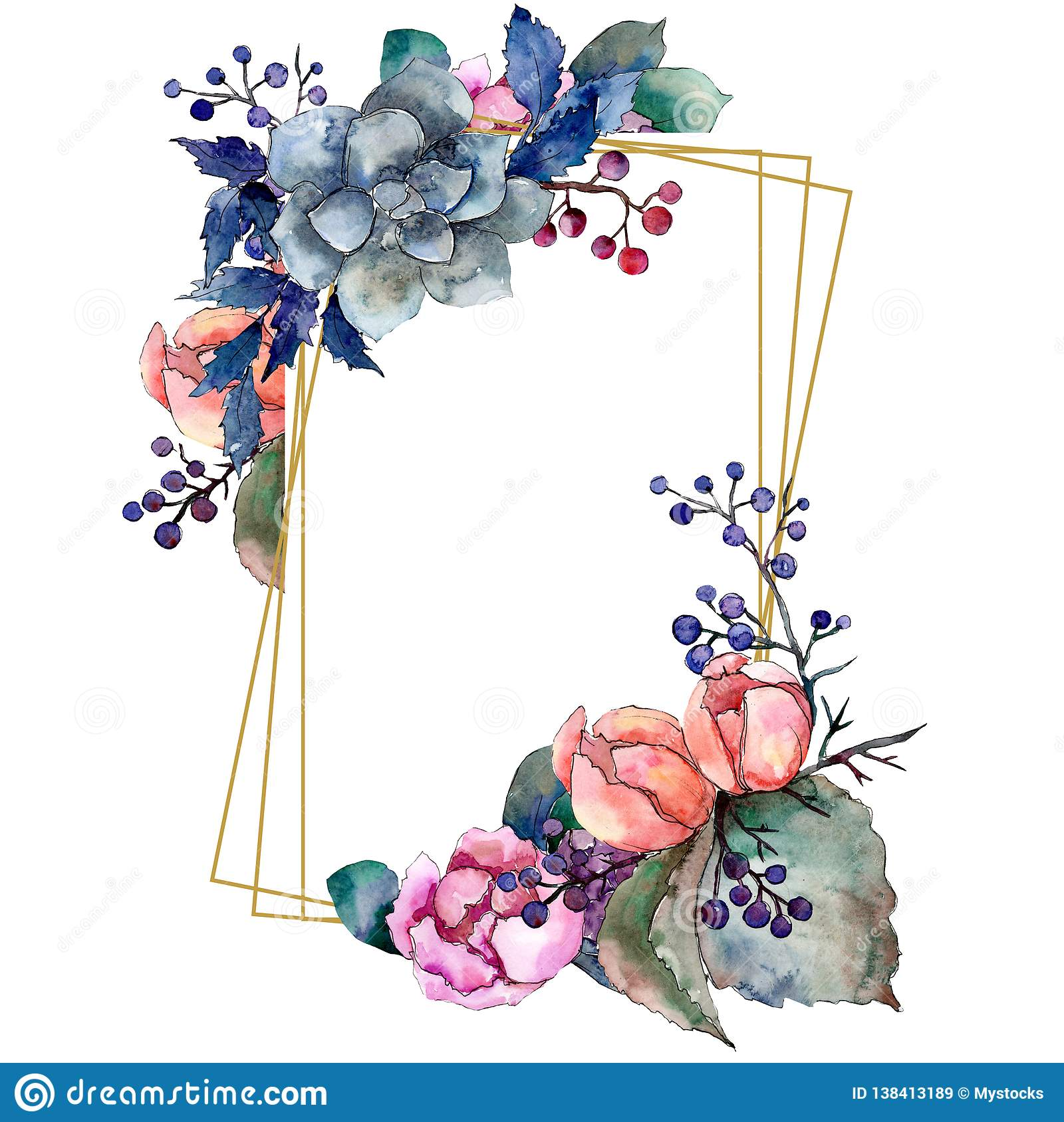 Peony And Succulent Bouquet Floral Flower Watercolor Background