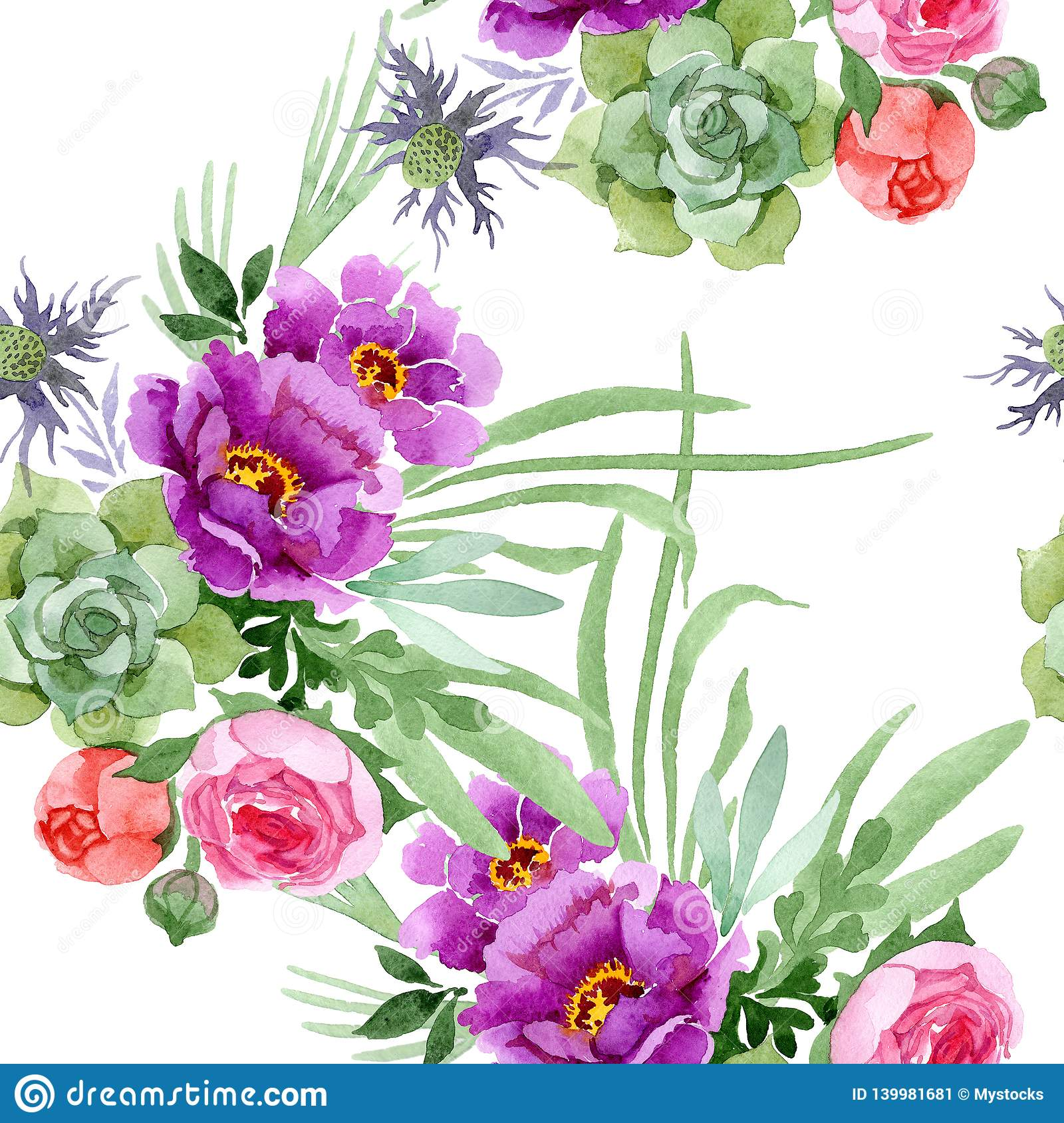 Peony And Succulent Bouquet Floral Botanical Flower Watercolor Illustration Set Seamless Background Pattern Stock Illustration Illustration Of Botanical Drawing 139981681