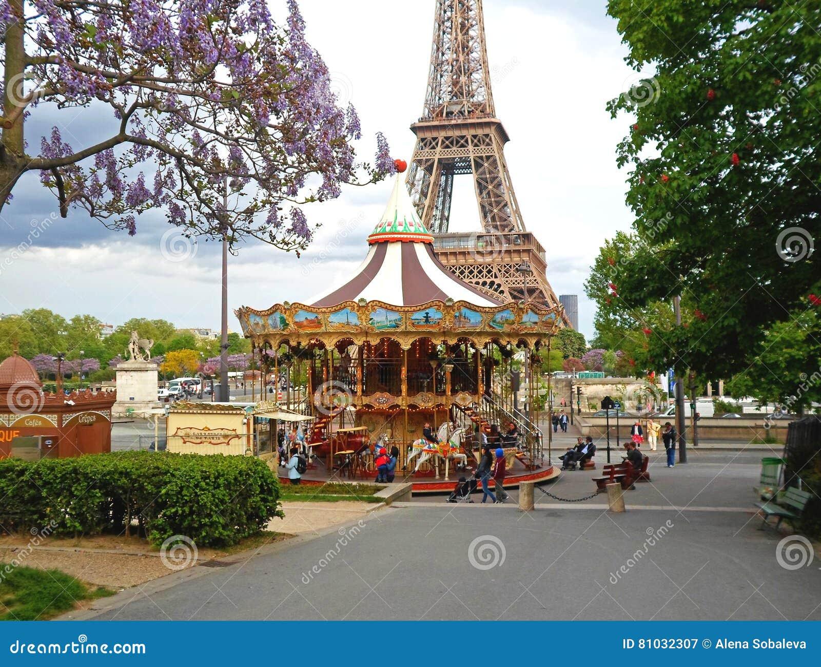 children on carousel in park paris france editorial image 52318434. Black Bedroom Furniture Sets. Home Design Ideas