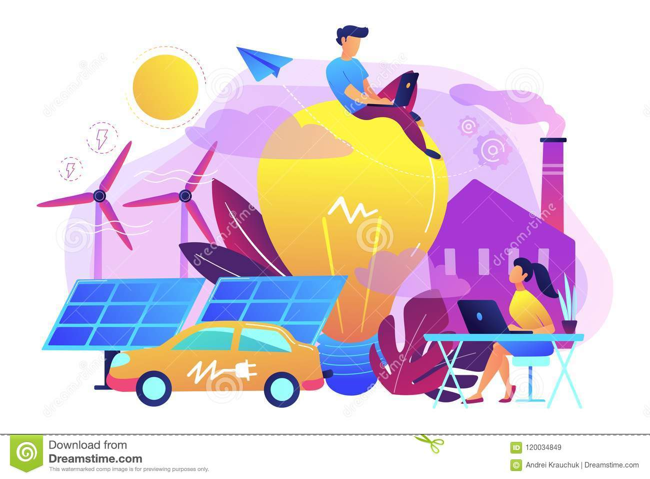 Smart energy and power systems IoT smart city concept vector ill