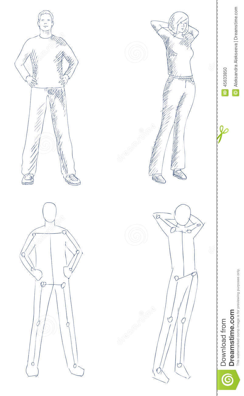 People Artistic Sketch With Shading Stock Vector Illustration Of Clothes Scheme 45633850