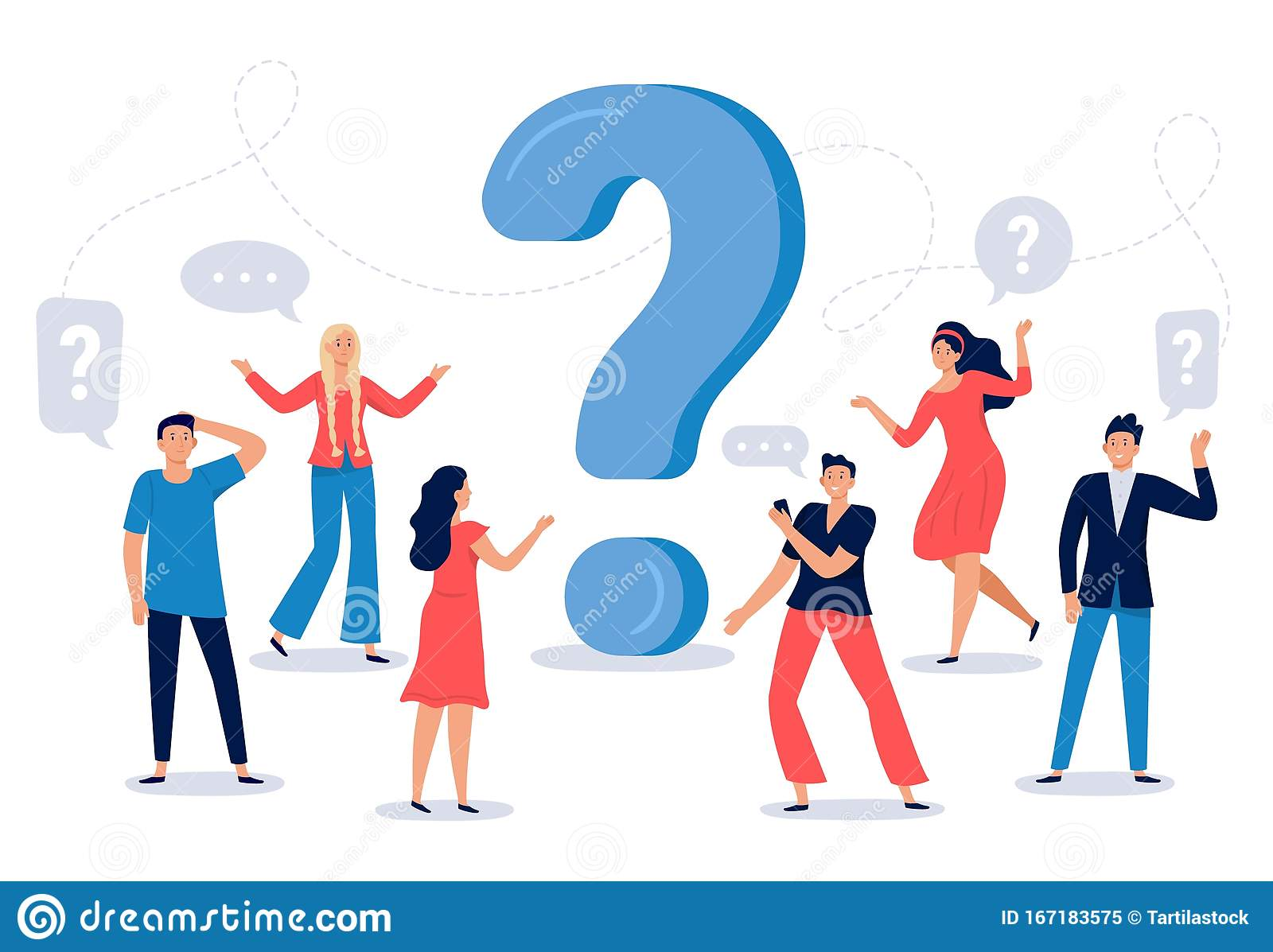 People Ask Question. Confused Person Asking Questions, Crowd Finding  Answers and Question Sign Vector Illustration Stock Vector - Illustration  of advice, happy: 167183575