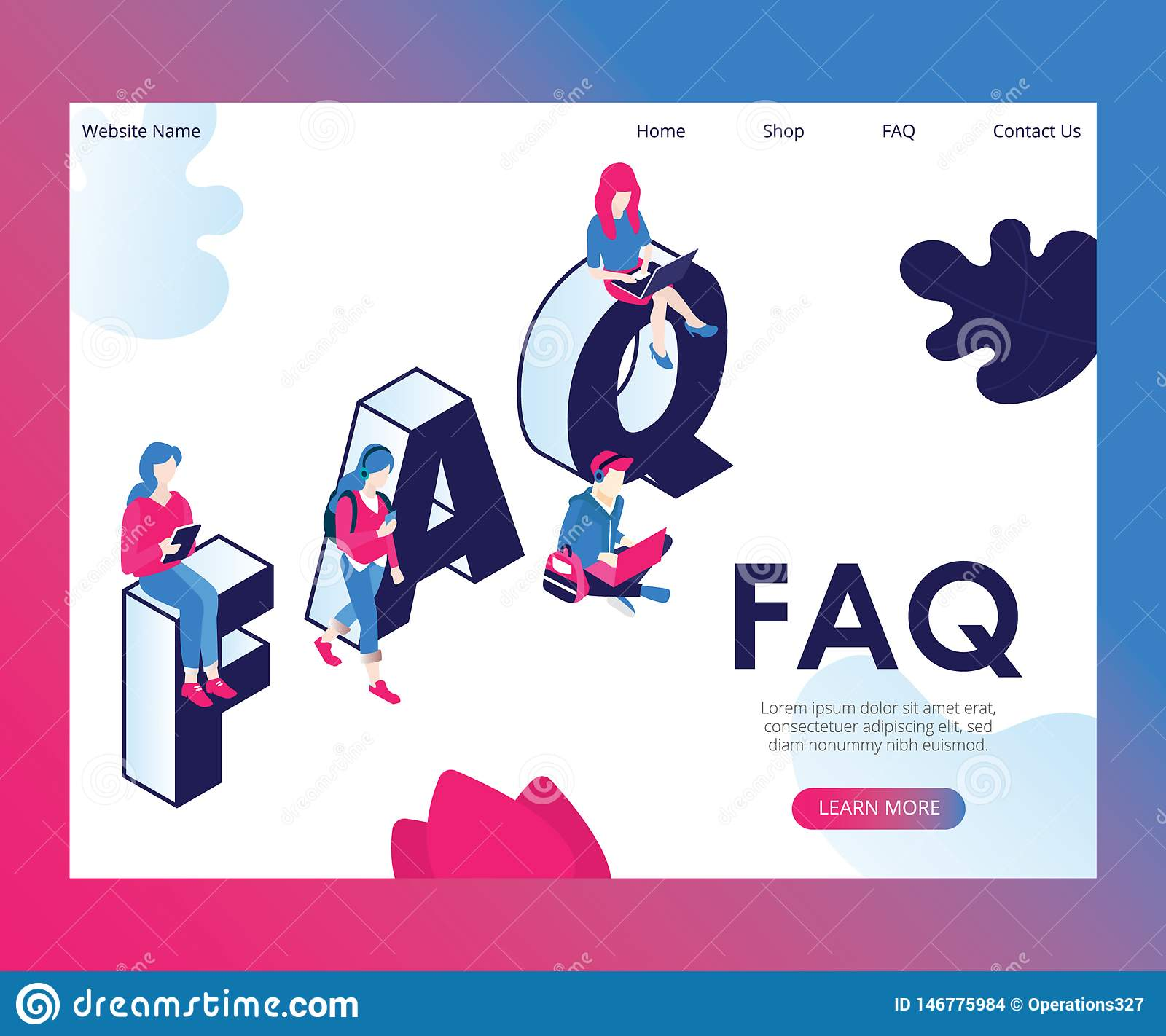 People are Asking Frequently Asked Questions Isometric Artwork Concept