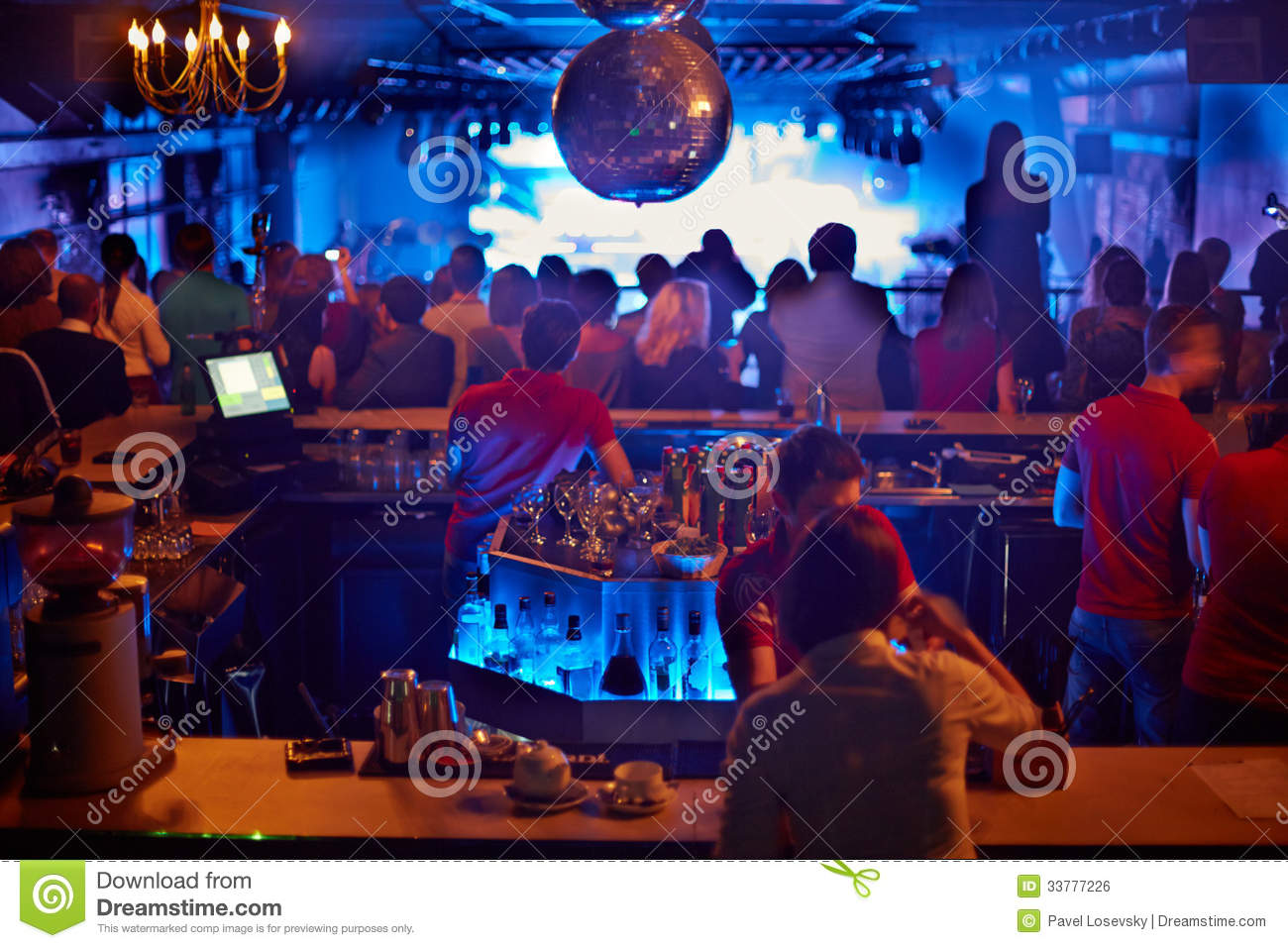 People In Bar Look At Musical Show Stock Photo Image