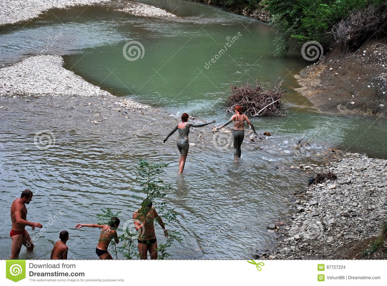 People Bathe In The Mountain River After Acceptance Of Mud Baths In Krasnodar Krai Editorial Stock Image Image Of Krai Pure 87727224
