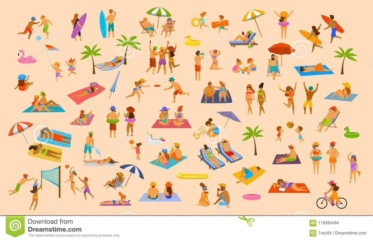 People on the beach fun graphic collection. man woman, couples kids, young and old enjoy summer vacation
