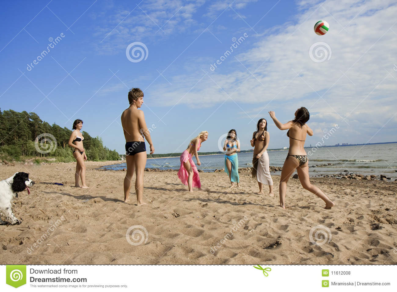 People on the beach playing volleyball