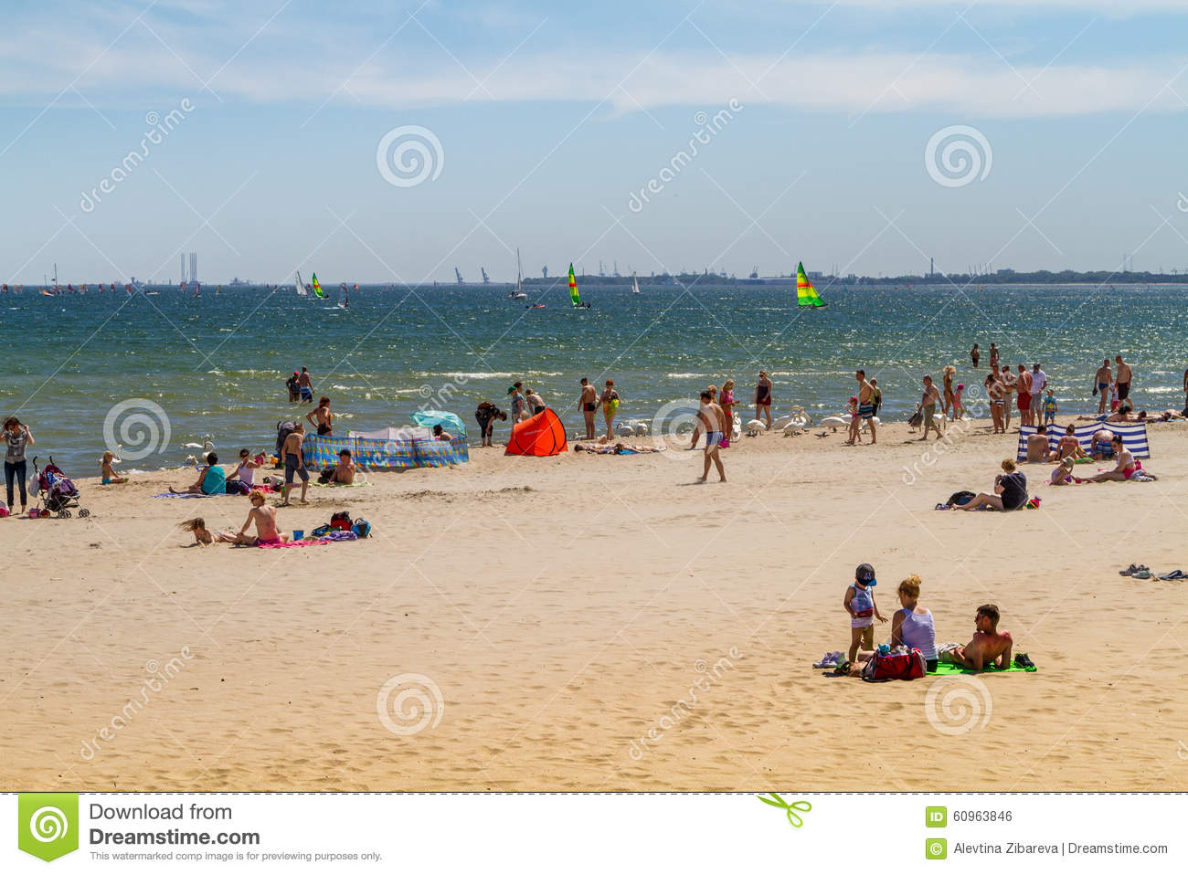 People on the beach, Sopot
