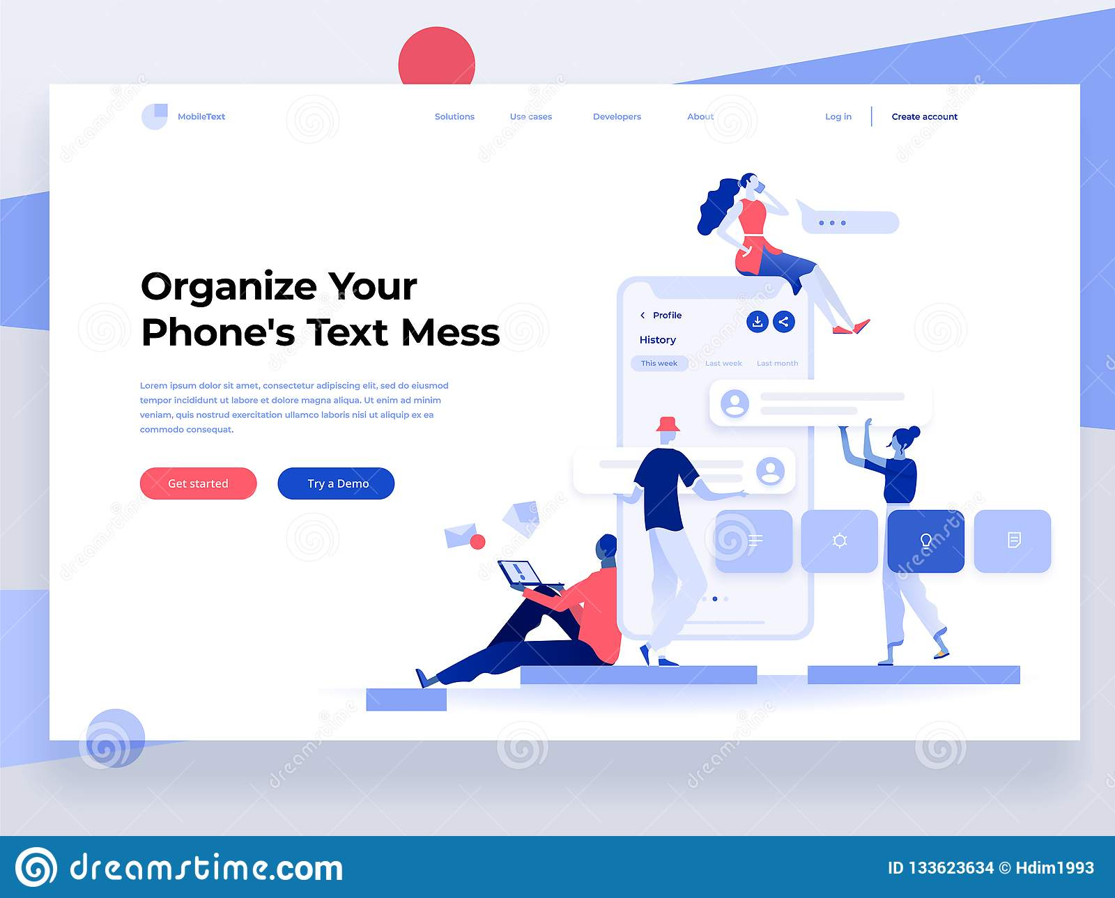 People build a mobile application and interact with parts of interface. App development. Landing page. Flat vector illustration
