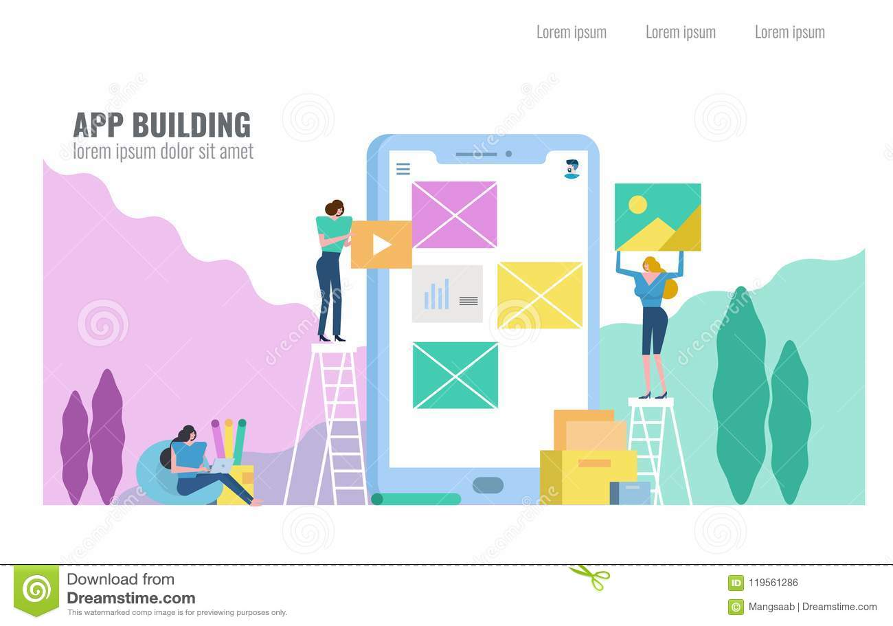 People Building Mobile Application  Stock Vector