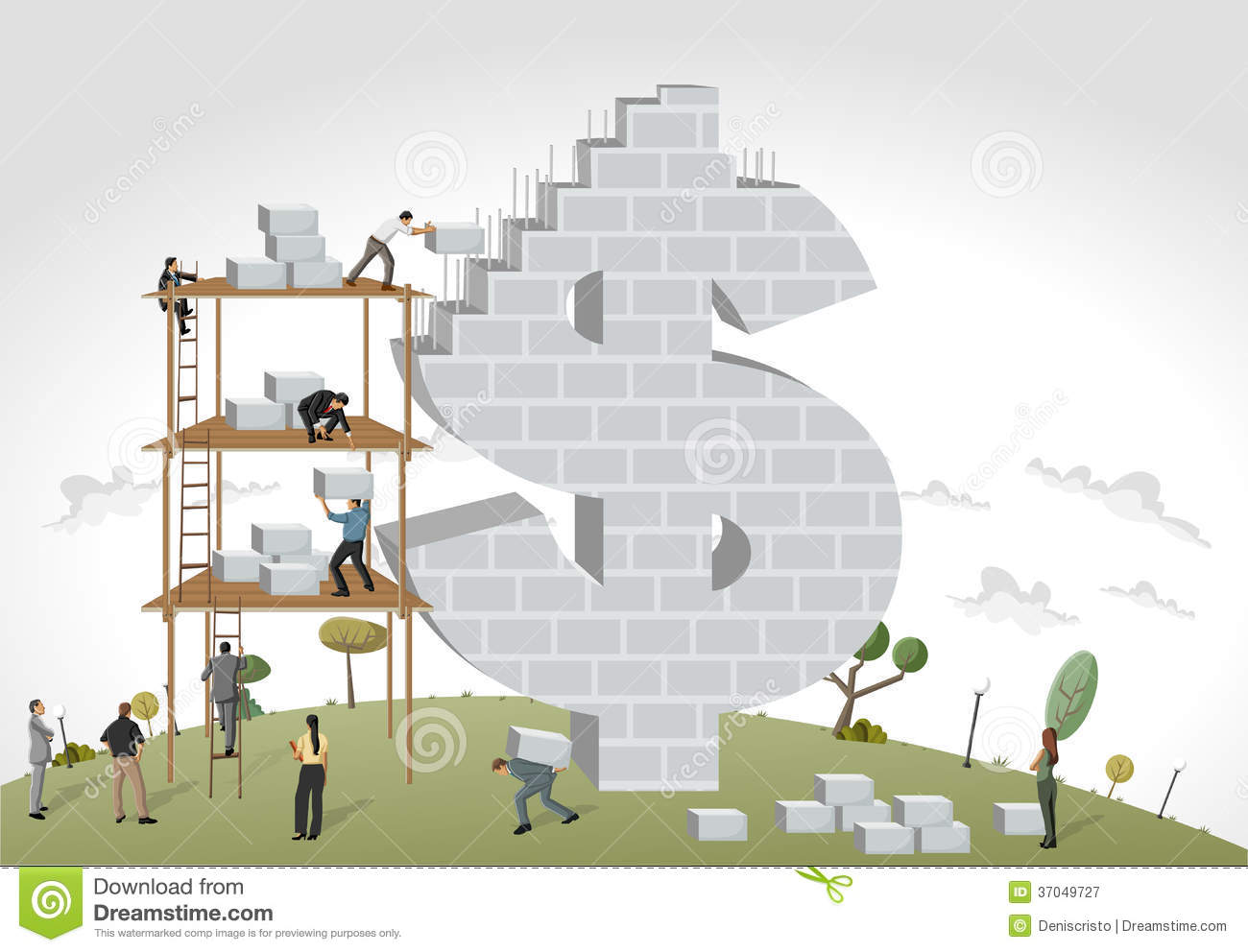 People Building A Money Symbol Stock Vector Image 37049727