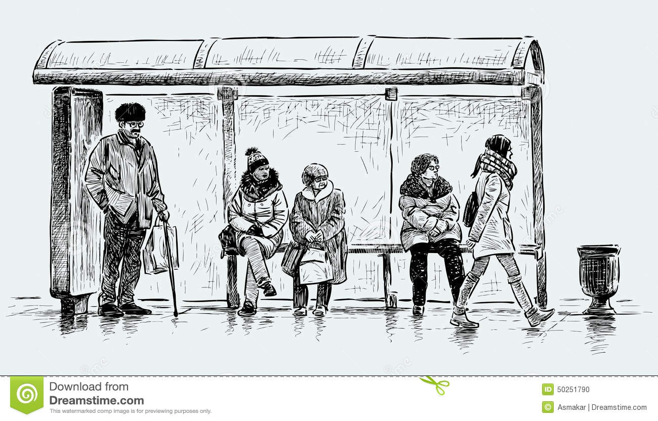 Bus Stop Drawing Images Easy Www Imagessure Com