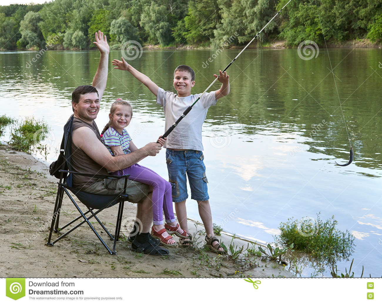 People camping and fishing family active in nature fish for Videos of people fishing